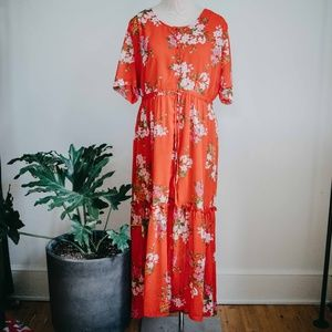 Who What Wear / Red Floral Button Front Maxi Dress